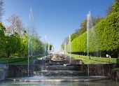 stock photo of gush  - Foutains with water gushing in a nice park in France - JPG