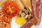 Close up of ingredients in full English breakfast