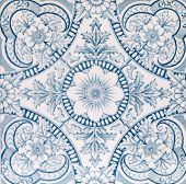 image of art nouveau  - An Aesthetic period original tile dating around 1880 with floral design - JPG