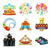 stock photo of amusement park rides  - Colorful theme park attraction icons - JPG