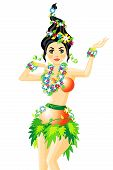 stock photo of hula dancer  - Vector illustration of hula dancer with garlands of flower - JPG