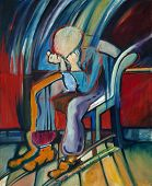 Oil Painting of depressed man based on a Van Gogh's painting