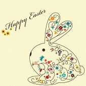 stock photo of happy easter  - Vector floral greeting card for Easter with rabbit - JPG