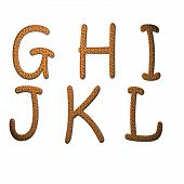 stock photo of g-spot  - Biscuit with chocolate cookies alphabet letters G to L - JPG
