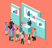 Isometric Flat 3D Concept Vector Exhibition Or Promotion Stand. poster