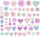 stock photo of girlie  - Hearts and Flowers Set Vector Illustration - JPG
