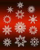 Star Snowflakes Collection Over Red Gradient