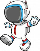 Astronaut Walking Vector Illustration