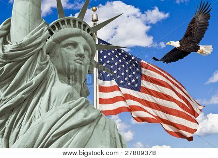 American Flag, flying bald Eagle,statue of liberty montage