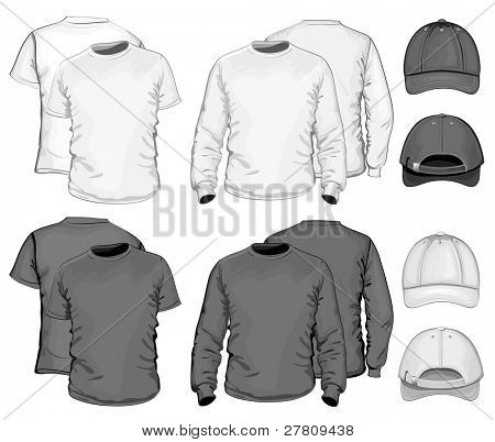 Vector. Men's t-shirt design template & baseball cap. black & white