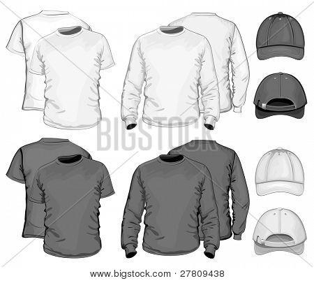 Vector. Men's t-shirt design template & baseball cap. black & white