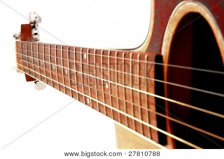 Close up angle acoustic guitar