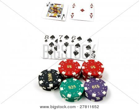 Isolated blackjack game