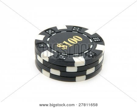 Stack of $100.00 casino chips