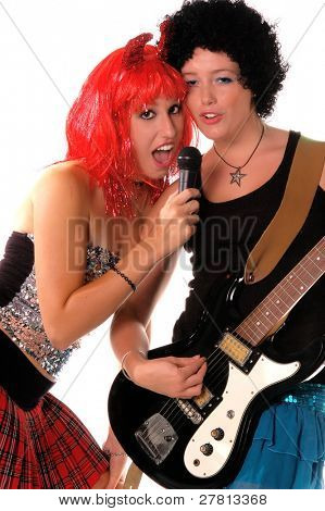 Glam Rock girls rocking out on Electric guitar and vocal Isolated over white.