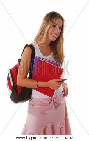 Blond high school senior girl with a backpack hanging out and holding text books