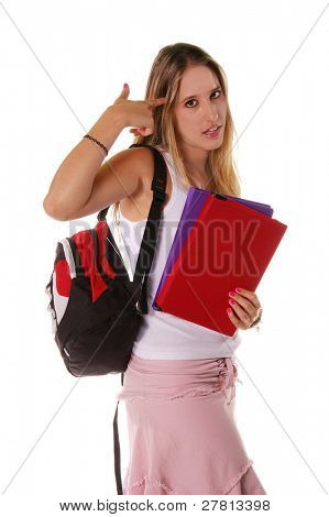 Blond high school senior girl with a backpack  and  text books walking by with finger to head as if a gun