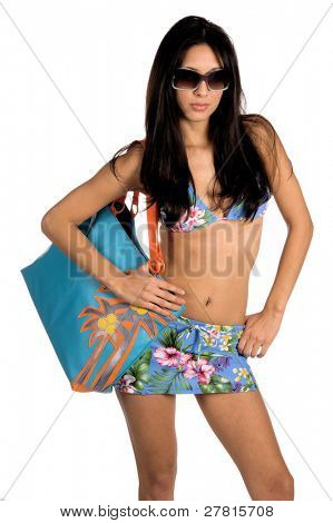 Beautiful Latin woman in a blue floral print bikini with sunglasses. Isolated over white. Swim wear by Swimbay http://www.swimbay.com