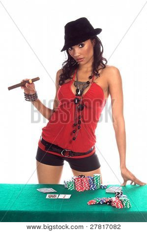 Sexy woman in a sexy low cut red blouse, black hot pants and  black suede fedora hat playing Texas Hold 'um poke and smoking a big cigar Generic no label card backs from China
