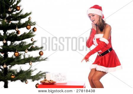 Sexy Ms. Santa Claus by the Christmas tree with milk and cookies