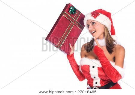 Sexy Ms. Santa Claus with a Christmas gift in her hand