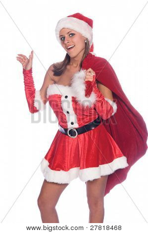 Sexy Ms. Santa Claus with a bag of toys over her shoulder