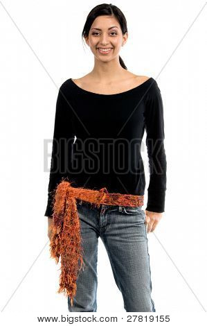 beautiful young Mexican woman in jeans and a black shirt and an orange couture feather wool belt
