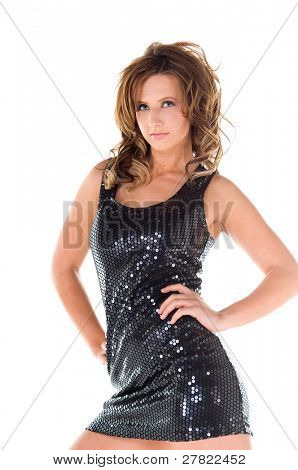 Sexy young glam rock woman in a black cocktail mini dress