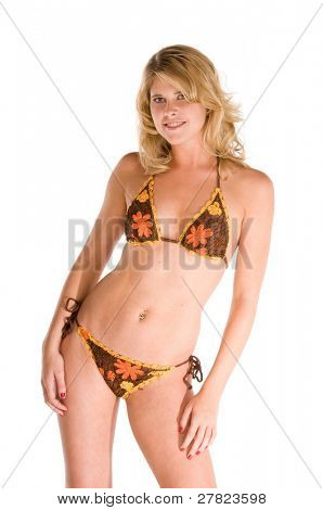 Young blond woman in a crotchet bikini