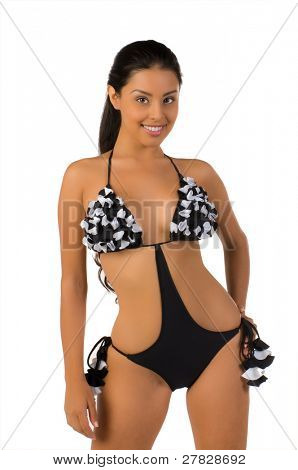 Beautiful Mexican bikini model isolated over white