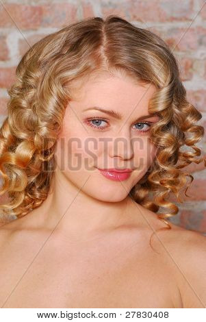 blonde with curls