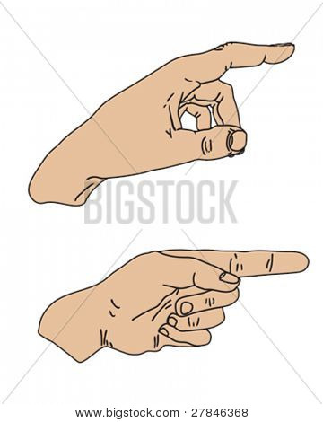 vector illustration of pointing hands