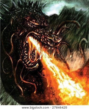 dragon breathing fire illustration