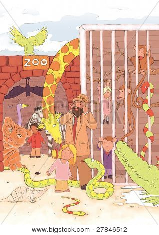 zoo escape!  various animals breaking out of the zoo (traditional illustration)
