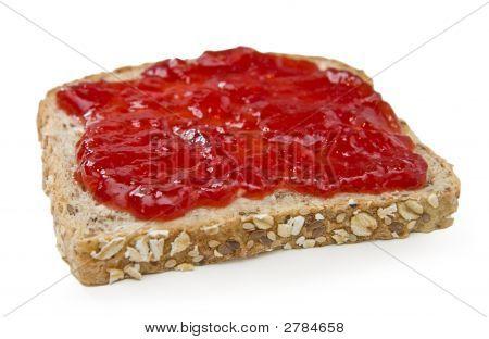 Multigrain Sandwich With Strawberry Jam