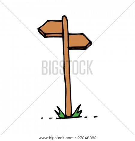 quirky drawing of a signpost