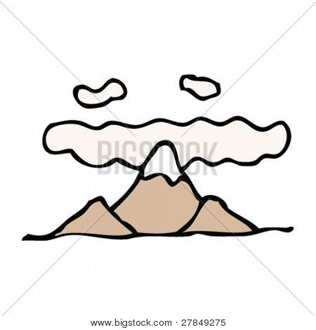 quirky drawing of mountains