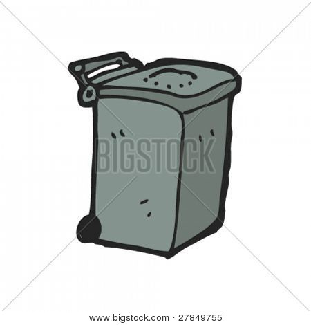 quirky drawing of modern plastic bin