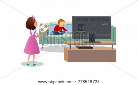 poster of Mother With Soccer Ball In Hands, Asking Playing Video Games Son, Go Outside To Play Football Cartoo