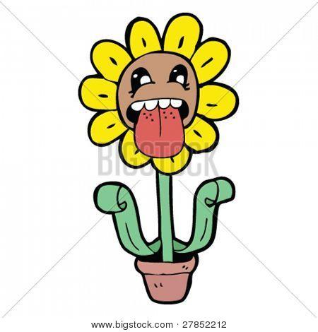 Cartoon Blume Zunge herausstrecken