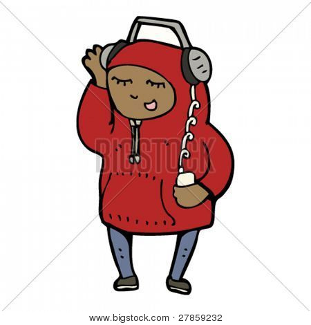boy in hoody listening to music cartoon