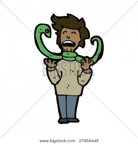 serpiente estrangulamiento de dibujos animados hombre