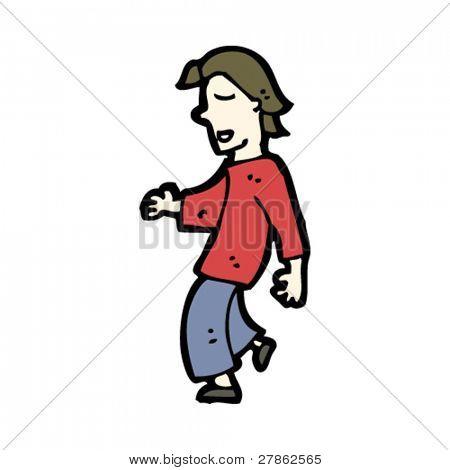 nonchalant man walking cartoon