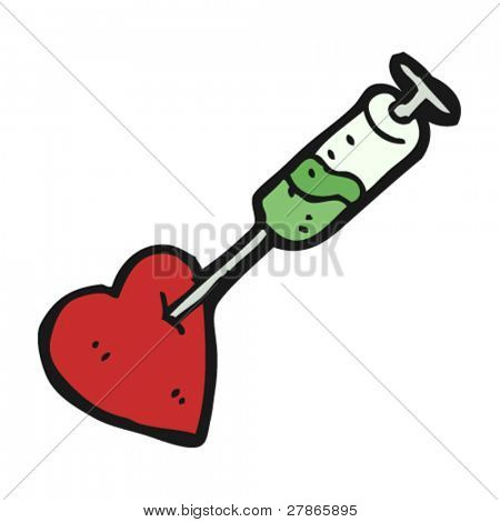 heart stabbed with syringe
