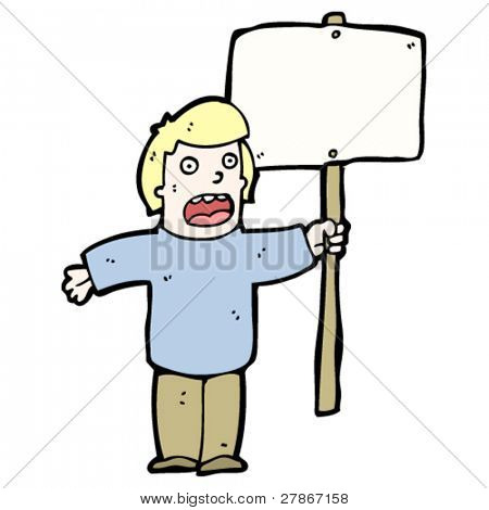 protester with placard cartoon