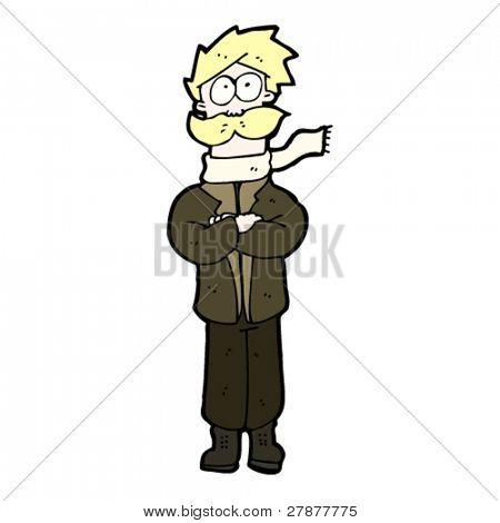 cartoon wartime pilot in scarf