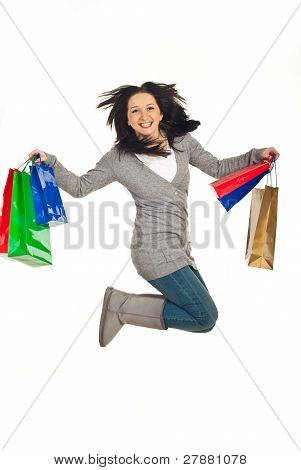 Excited Woman Jump With Shopping Bags