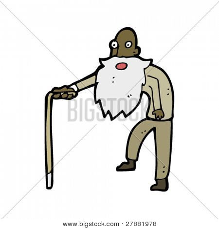 hunched old man with walking stick