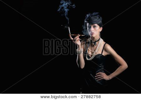 Retro picture of smoing woman with hat
