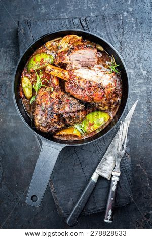 Traditional barbecue leg of lamb